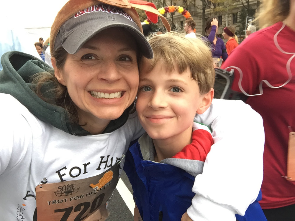 Jack and I at the Turkey Trot For Hunger finish line
