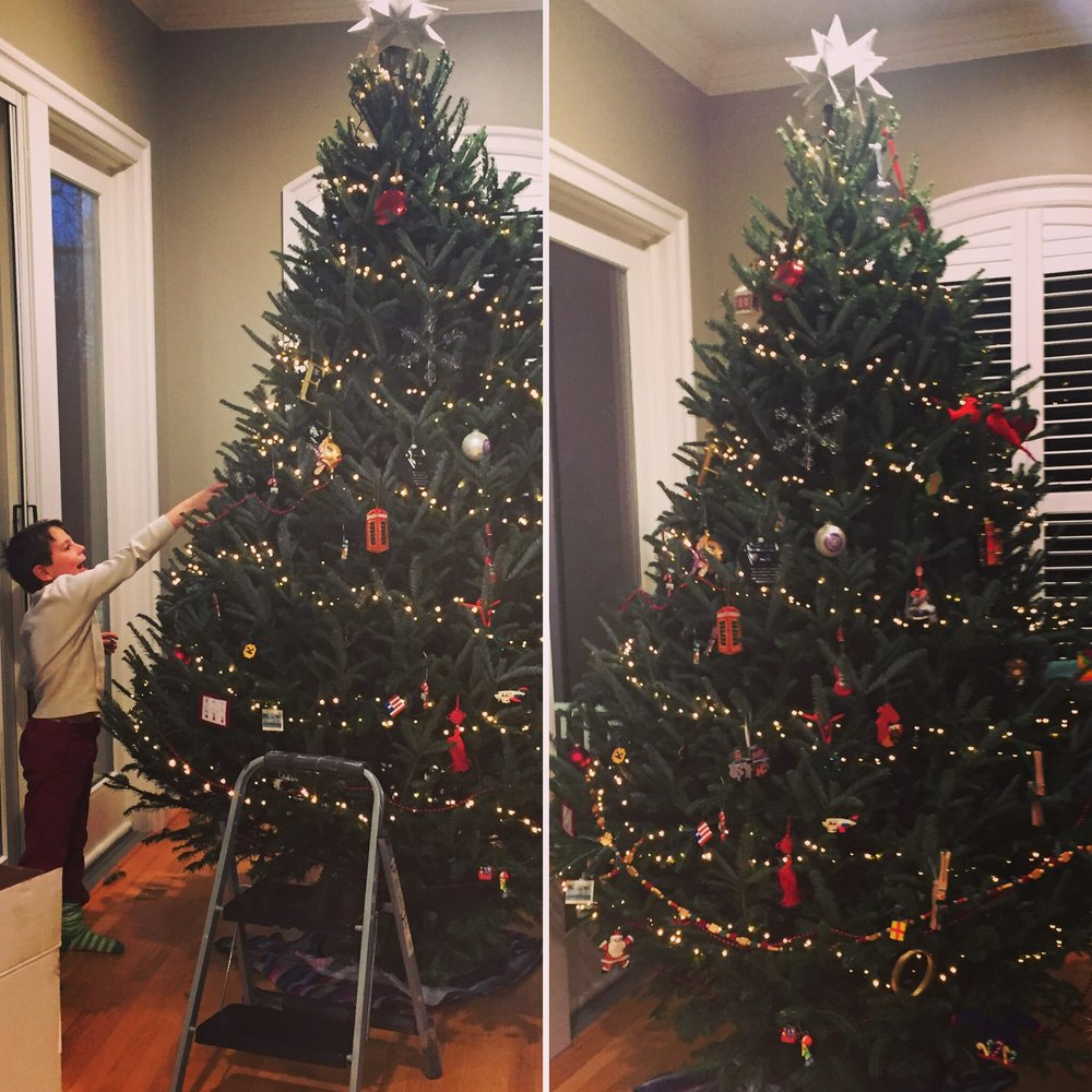 Decorating the tree is one of Oliver's favorite life activities. Here we are having just begun.