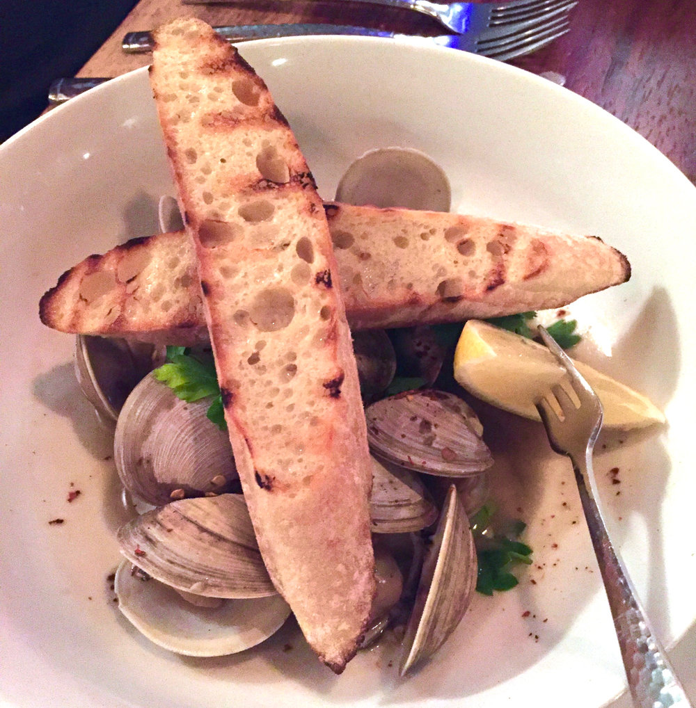 steamers and grilled bread; at t at the General Store