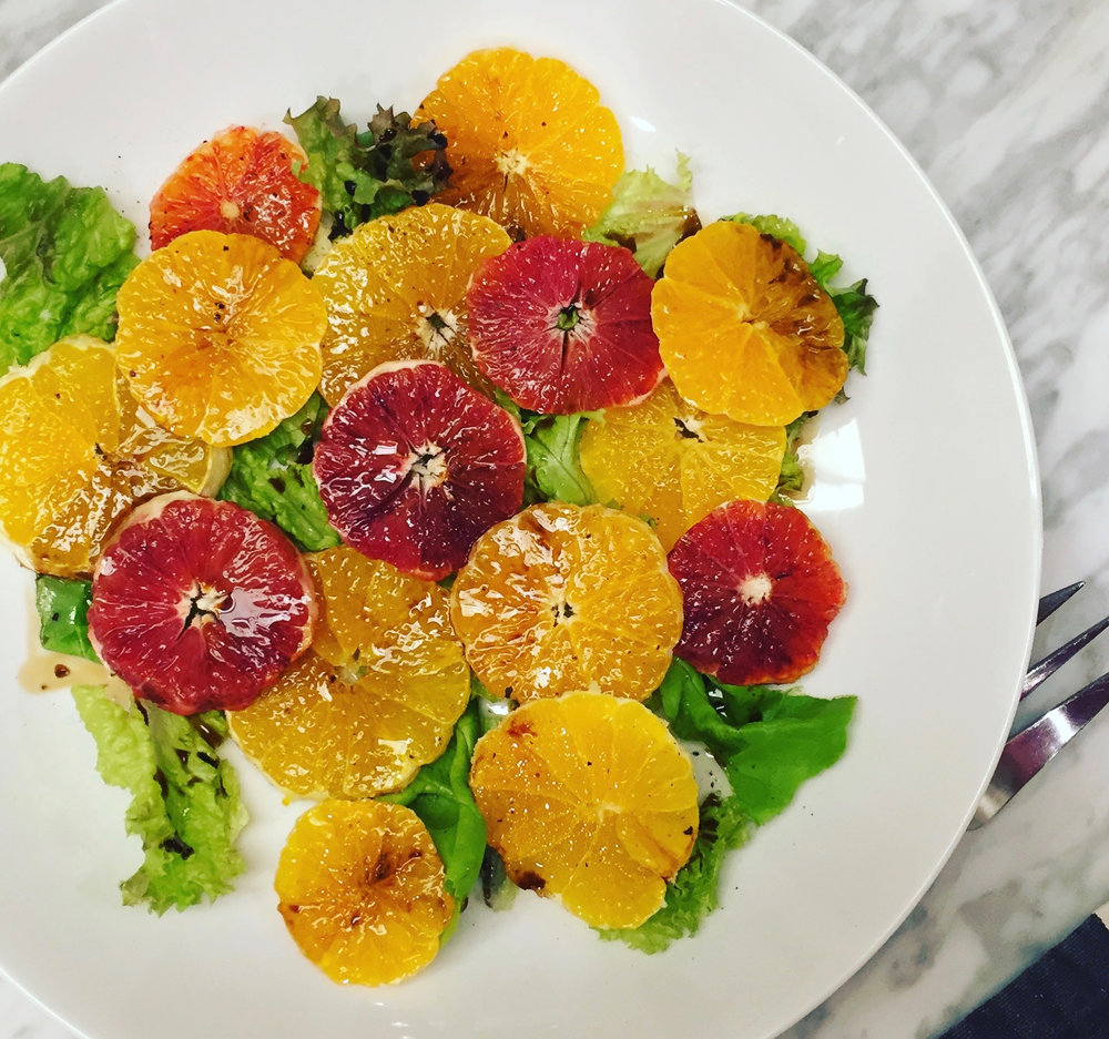 Can you even? Blood oranges, Sumo mandarins, satsumas, lettuces, olive oil, aged Balsamic, salt and pepper