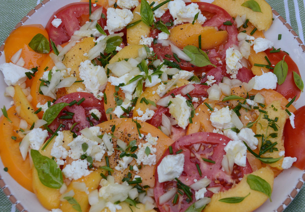 Tomato, Peach, Chevre, and Herb Salad with Apple Vinaigrette
