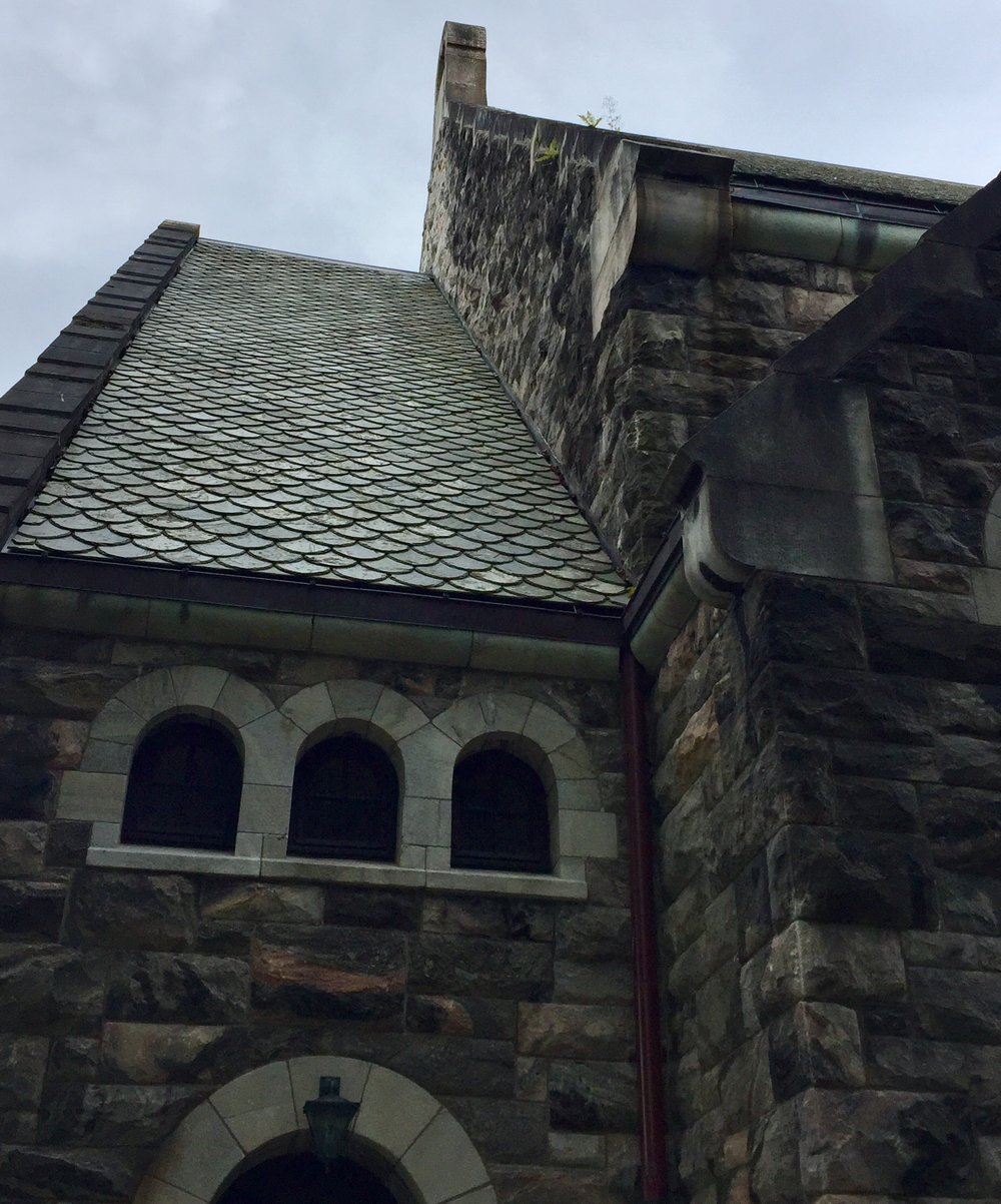 gorgeous slate work on the roof of this church