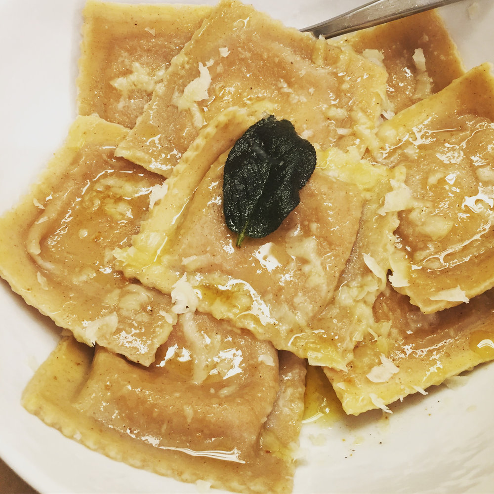 pumpkin ravioli with sage brown butter and parmesan