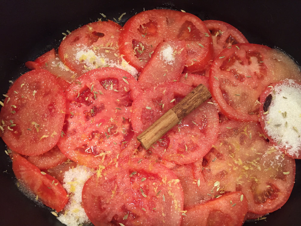 tomatoes from that market heading towards roasted tomato jam (an outstanding Amanda Hesser recipe)