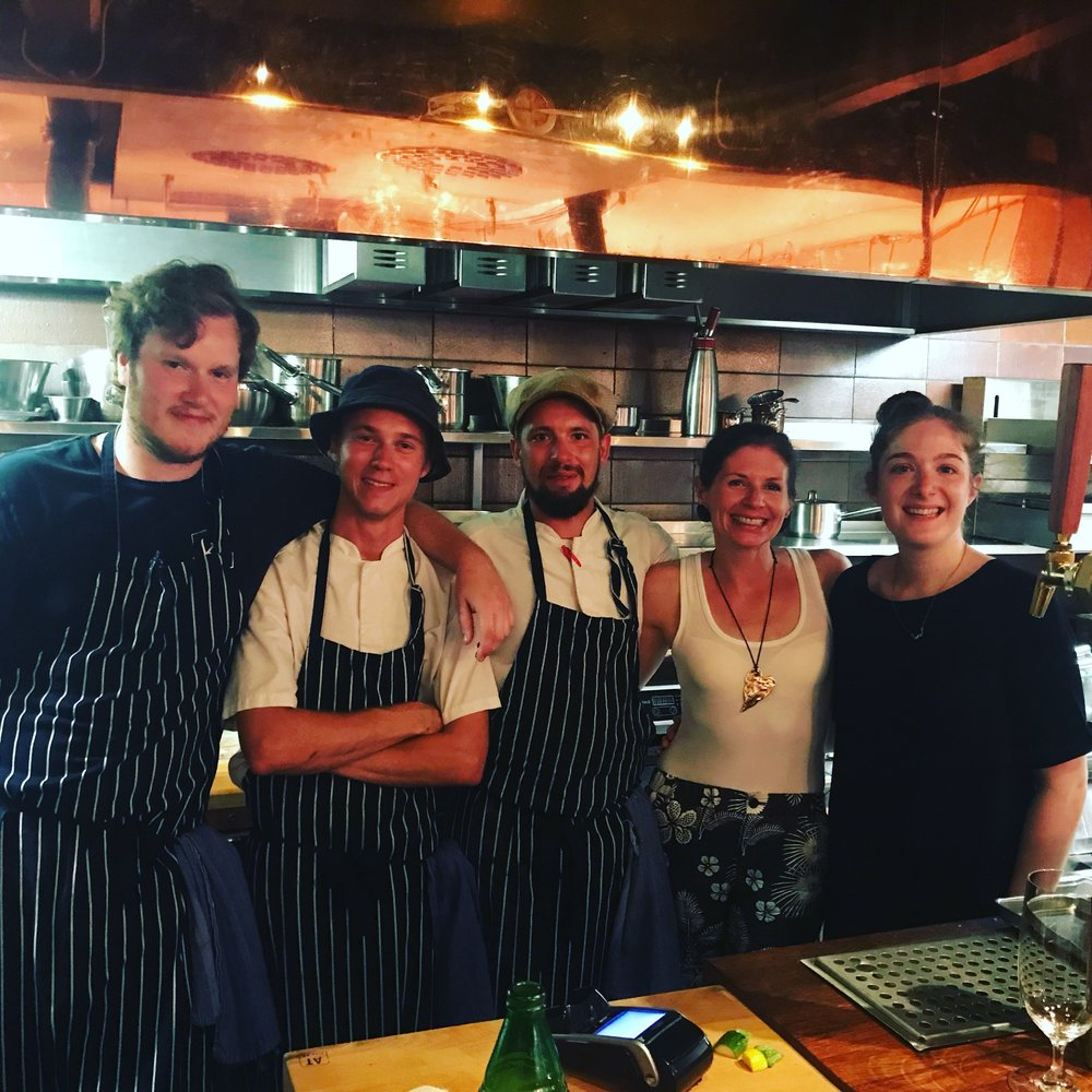 Kalle, the guy from the forest, another forester and the one who told me about the shallot/lemon/butter vinaigrette, happy Em, and the hostess/sommelier. Is this not a fantastically fun photo?