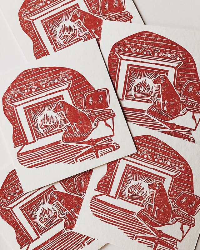 Sending everyone warm wishes! (Custom linocut cards for @patrickthompsondesign  featuring Birdie!) #letterpress