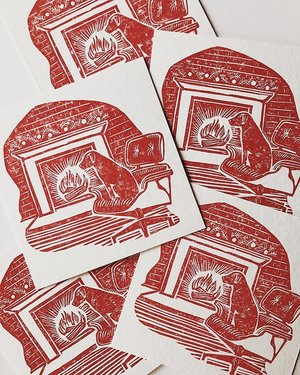 The detroit wood type co custom linocut cards for patrickthompsondesign featuring birdie reheart Images