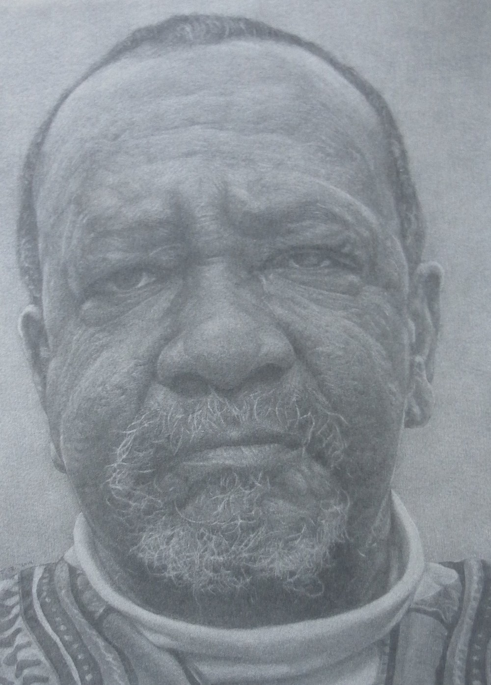 """Cecil (Drawing from the Cecil mural)""    2014 Pencil on wove paper   14 ¼ x 10 ¾ inches   © Richard Wyatt Jr."