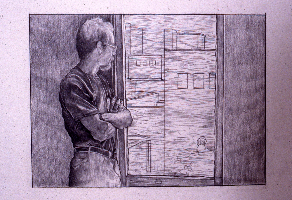 """Study For Terry's View""    1989 Charcoal on pencil   4 x 6 inches   © Richard Wyatt Jr."