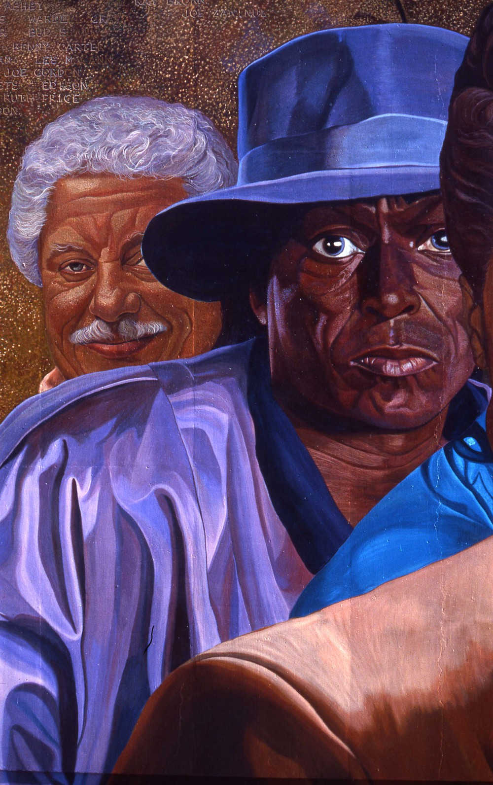 """Hollywood Jazz: 1945-1972"", Detail    1991 Acrylic on concrete   26 x 88 feet   © Richard Wyatt Jr."