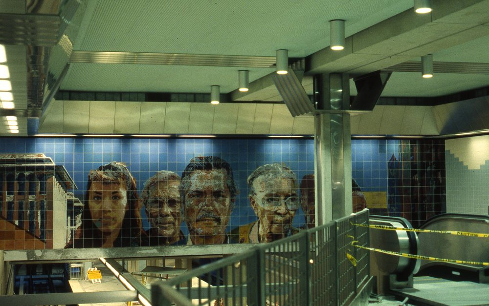 """People Coming, People Going"", East wall    1996   Ceramic Tile   10 x 50 feet   © Richard Wyatt Jr."