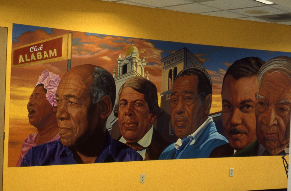 """Sunrise on Central Avenue"", Angle view    2000 Acrylic on canvas   5 x 24 feet   © Richard Wyatt Jr."