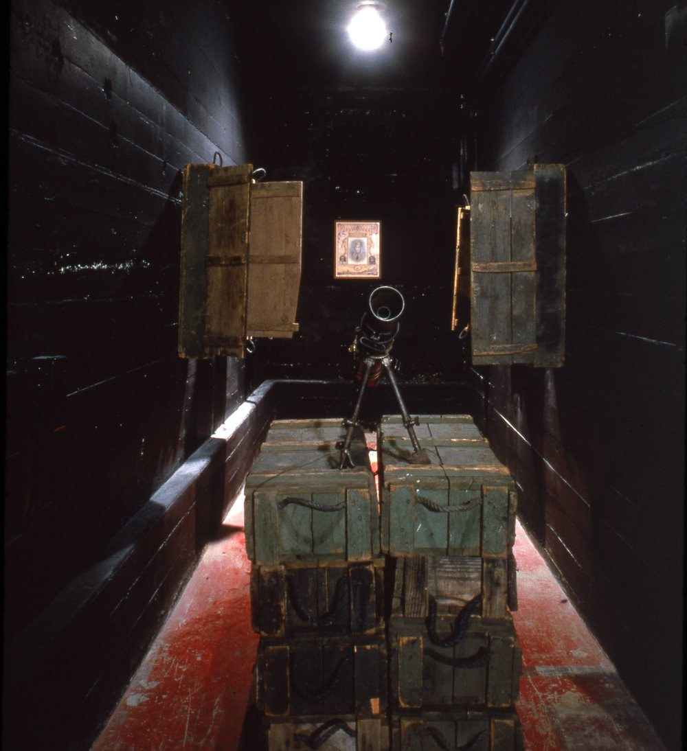 LAX Los Angeles Biennial, Armory Center for the Arts    1994 Installation with artist May Sun   © Richard Wyatt Jr.