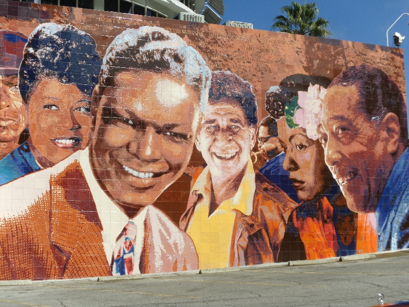 """Hollywood Jazz: 1945-1972 Mural   Restoration   in Ceramic Tile"", Detail    2012 Hand-glazed ceramic tile   26 x 88 feet   © Richard Wyatt Jr."