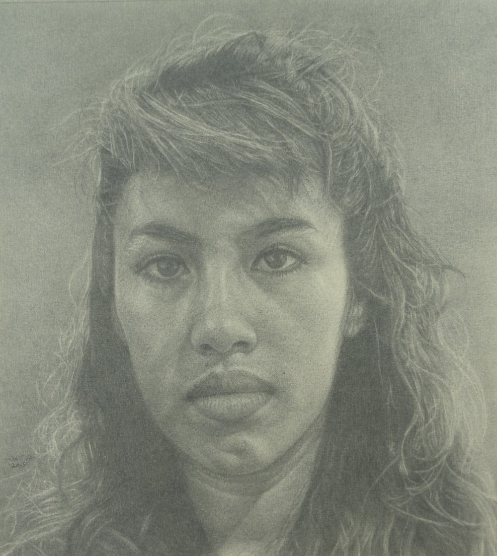 """Blanca (Drawing from the People Coming, People Going Mural located at Wilshire/Western Subway Station, Los Angeles, CA)""    2015 Pencil on wove paper   10   ⅝    x 11 ⅝ inches   © Richard Wyatt Jr."