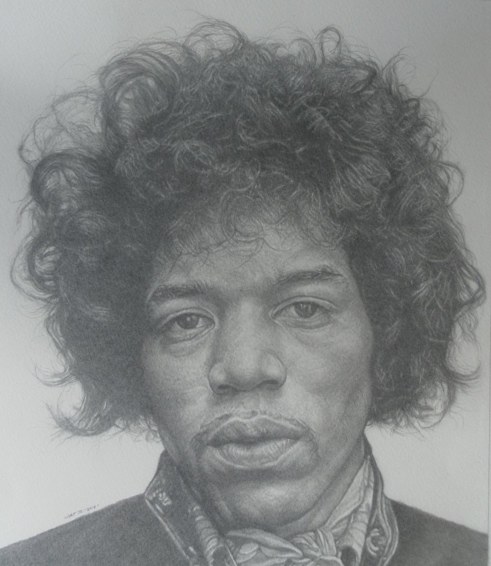 """Jimi""    2017 Pencil on wove paper   11  ¼  inches x 13 inches   © Richard Wyatt Jr."