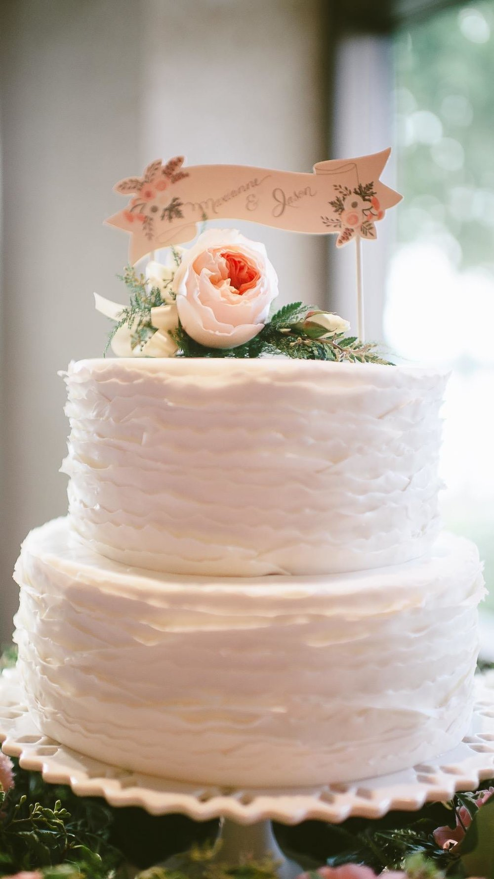 Classic White Rustic Fondant Cake by Meringue Bakery in La Crosse, WI