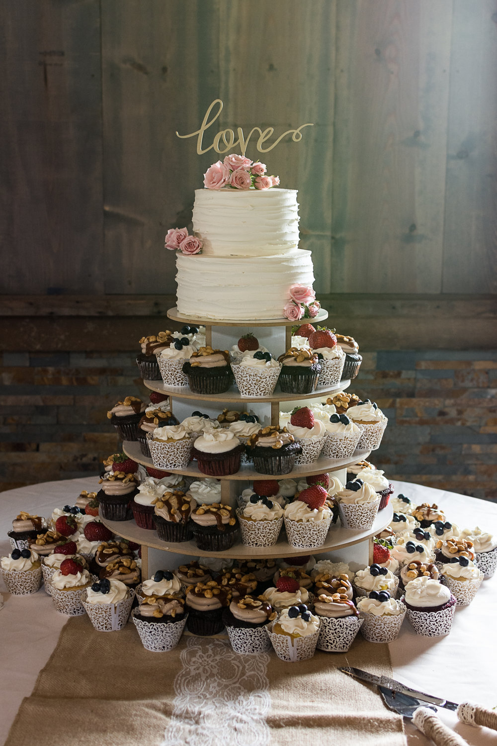 Rustic Romantic Cupcake Tower made by Jen Barney at Meringue Bakery in La Crosse, Wisconsin