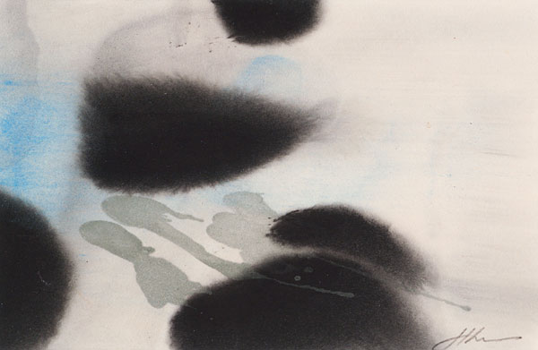 SP-38, sumi, charred malachite, azurite on Kumohada paper