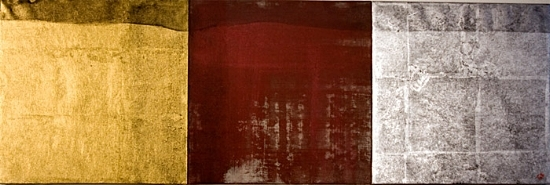 "Seijaku 18    2009, mineral pigments, 24k gold leaf, pure silver leaf, sumi ink on Kumohada paper on 3 panels    11 3/4"" x 35 1/4""   (in collection, Harrisburg, PA)"