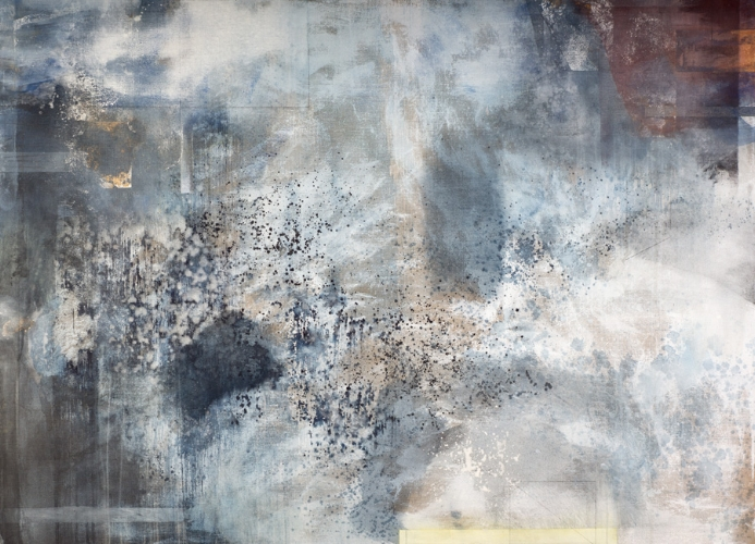 "Getty Shadows 2015, mineral and plant (indigo) pigments, shell white, oxidized silver, graphite, copper powder on linen 42"" x 58"""