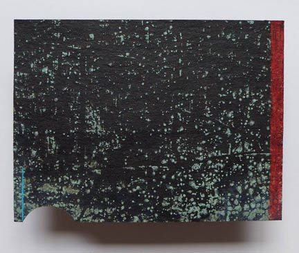 "Terrain Study 17 2017, malachite, oil pencil on tar paper mounted 4"" x 6"", travelling with artspace boeckercontemporary, Heidelberg, Germany"