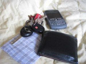 Keys, phone, wallet, hanky