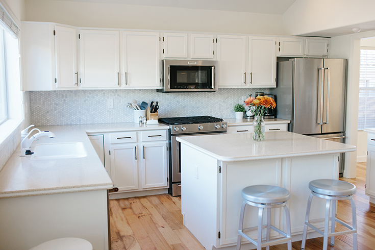 Highland white kitchen cabinets sherwin williams lowe 39 s for Merillat white kitchen cabinets