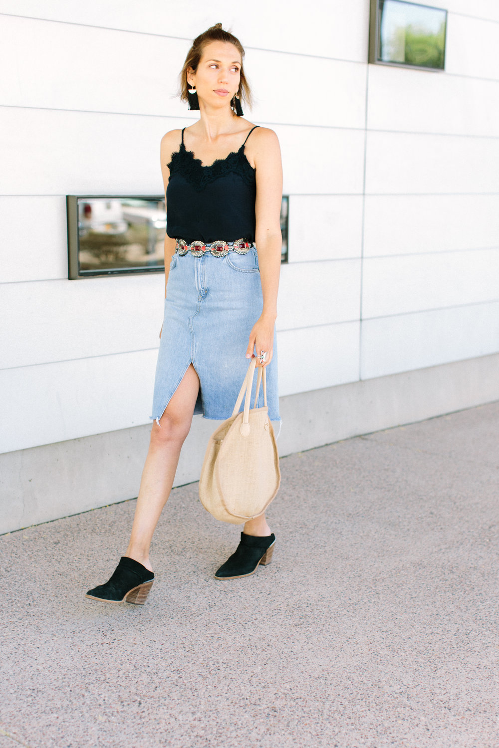 49ee7d64f These days, one of my favorite go-to outfits is a denim pencil skirt and a  cami. It's simple, femme and cool enough for hot summer nights.