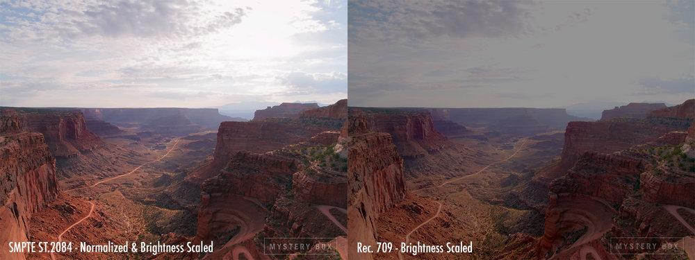 Normalized & Scaled SMPTE ST.2084 HDR Video vs Rec. 709 with Brightness Scaled