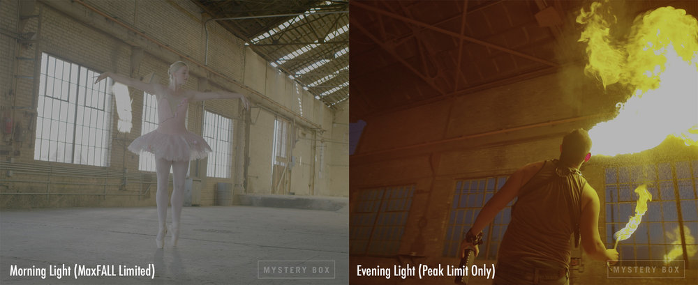 Both of these shots were done in the same space, about a year apart.  The time of day plays an important role to how much the windows affect the MaxFALL of the scene, with the blown out windows limiting overall brightness.