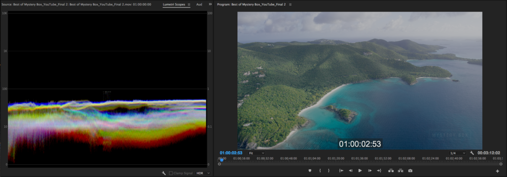 12 Bit ProRes 4444 HDR Intermediate in Timeline with HDR Scope showing how Premiere CC 2017 interprets the intermediate if you flag for HDR on export