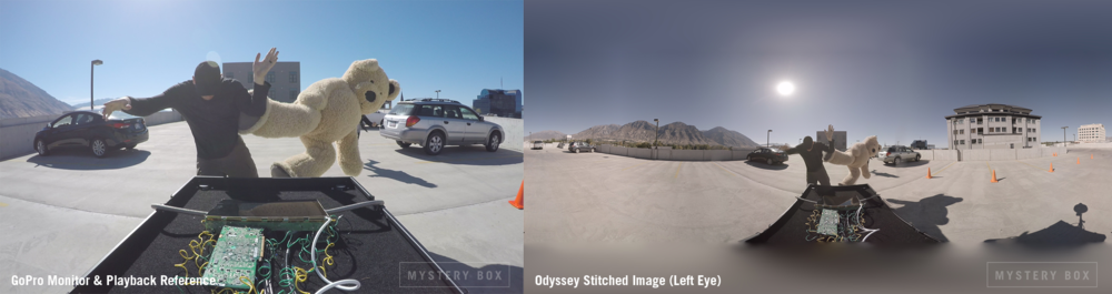Image from the Reference GoPro side by side with the image from the Odyssey (Uncolored Stitch).  The reference GoPro was used to stream live to a tablet and give us playback.