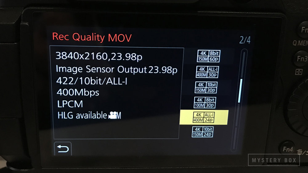 -  Set the record quality to the best available for 23.976 frames per second by setting the GH5S to 4K ALL-I 400M 24P in the Rec Quality menu (Menu -> Motion Picture -> Rec Quality)