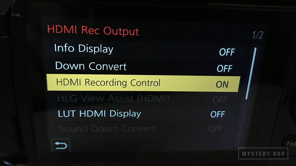 - Turn on the HDMI Recording control in the HDMI Rec Output menu. Ensure that info display, down convert, and LUT HDMI Display are all off.