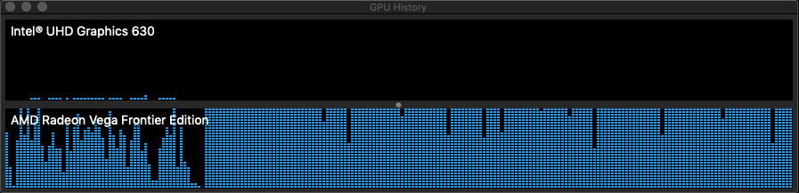 Evidence of the eGPU being used to the fullest as the timeline renders in the background. Remember, these render files will be stored in the user-defined cache folder for the library. We suggest a local, high speed drive like the internal SSD of the Mac Mini. This will give you optimal playback performance.