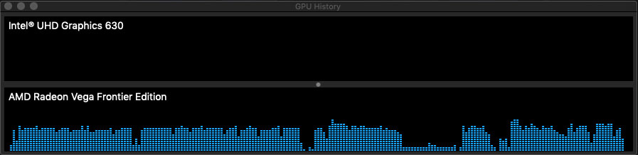 The dips in usage corresponded with stuttering in playback. Our assumption is the Vega's 16GB VRAM fills up and can no longer keep up with the 10bit footage. Double tapping the space bar (to pause and play again) cleared the VRAM and playback continued smoothly.