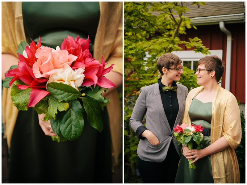same sex couple at wedding with bouquet