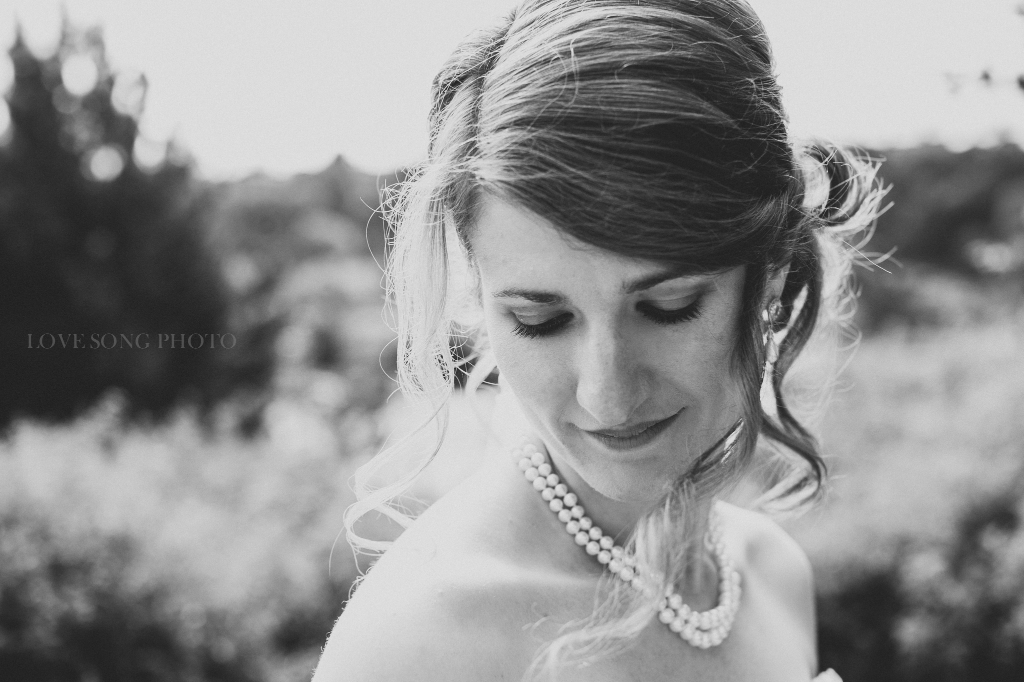 black and white ethereal bridal portrait