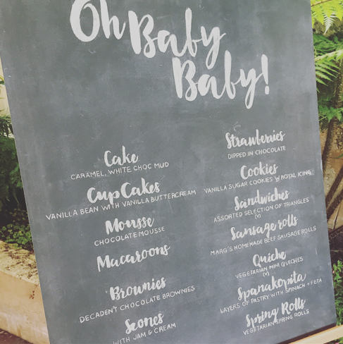 Baby Shower Menu Chalkboard
