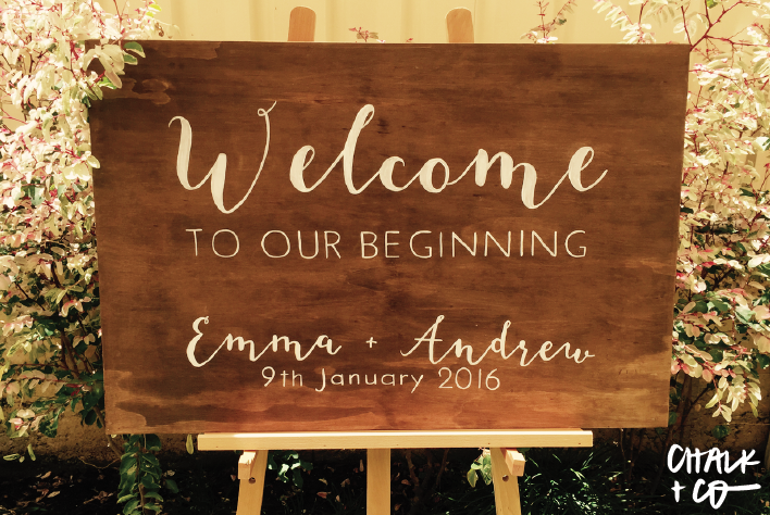 Emma + Andrews Timber Welcome Sign