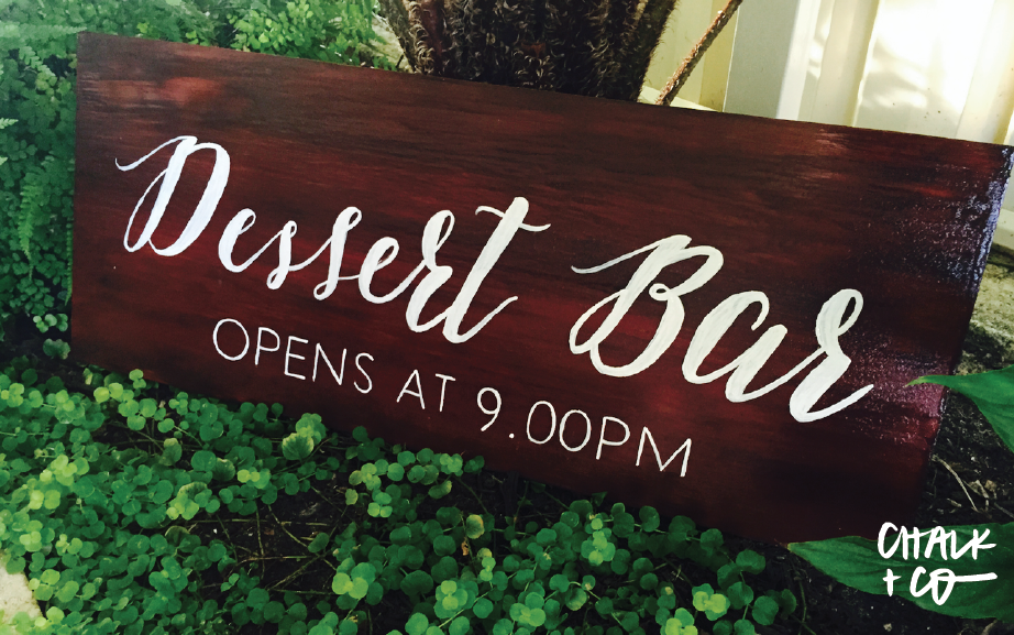 Dessert Bar Signage for White Events