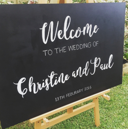 Welcome Sign for Christine and Paul