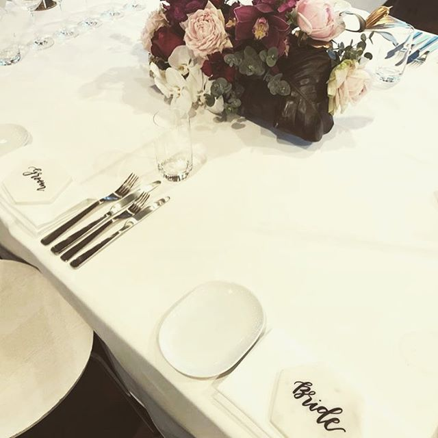 😍😍 black on marble! Regram from ashdownandbee!  Tap for deets!  #chalknco #marblecoasters #marble #placecards