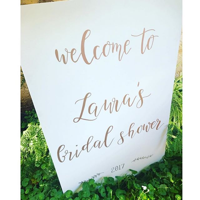 Laura's beautiful Aunt arranged a series of signage for her bridal shower! We can't wait to see more pics! ⠀ ⠀ #bridalshower #whiteandrosegold #signage #weddinginspo #signageinspo #welcomesign #chalknco