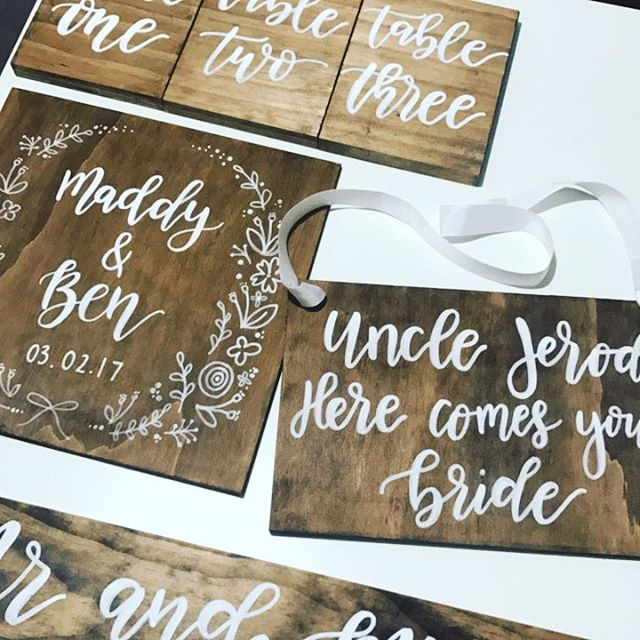 Packing Station 😍😍 so many goodies heading out this week!! #chalknco #wedding #mrandmrs #loveislove #walnutweddingsign #tablenumbers
