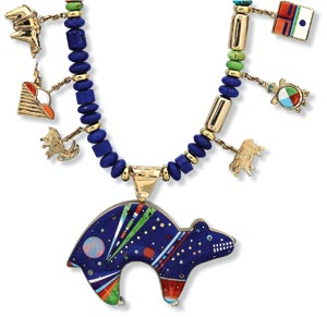 BEAR NECKLACE by Jesse Monongye of turquoise, coral, opal, lapis lazuli, dolomite, gaspeite, jet, shell, diamond, and eighteen karat gold; 2004.