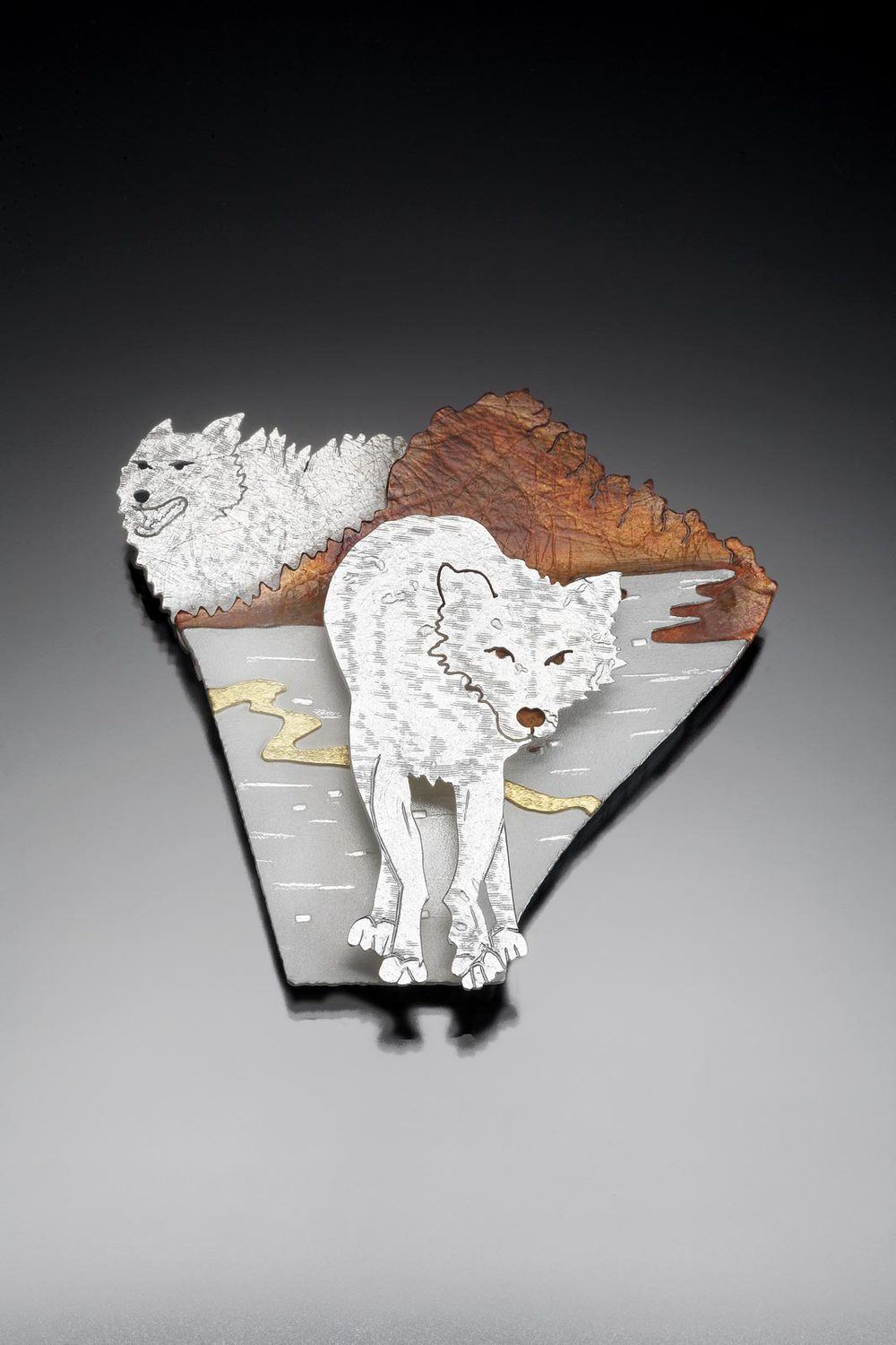 WOLF IN BLACK SPRUCE IV: OUR LAND, OUR ANCESTORS brooch/pendant of sterling silver, copper, eighteen karat gold, 5.87 x 6.19 x 1.27 centimeters, 2011.