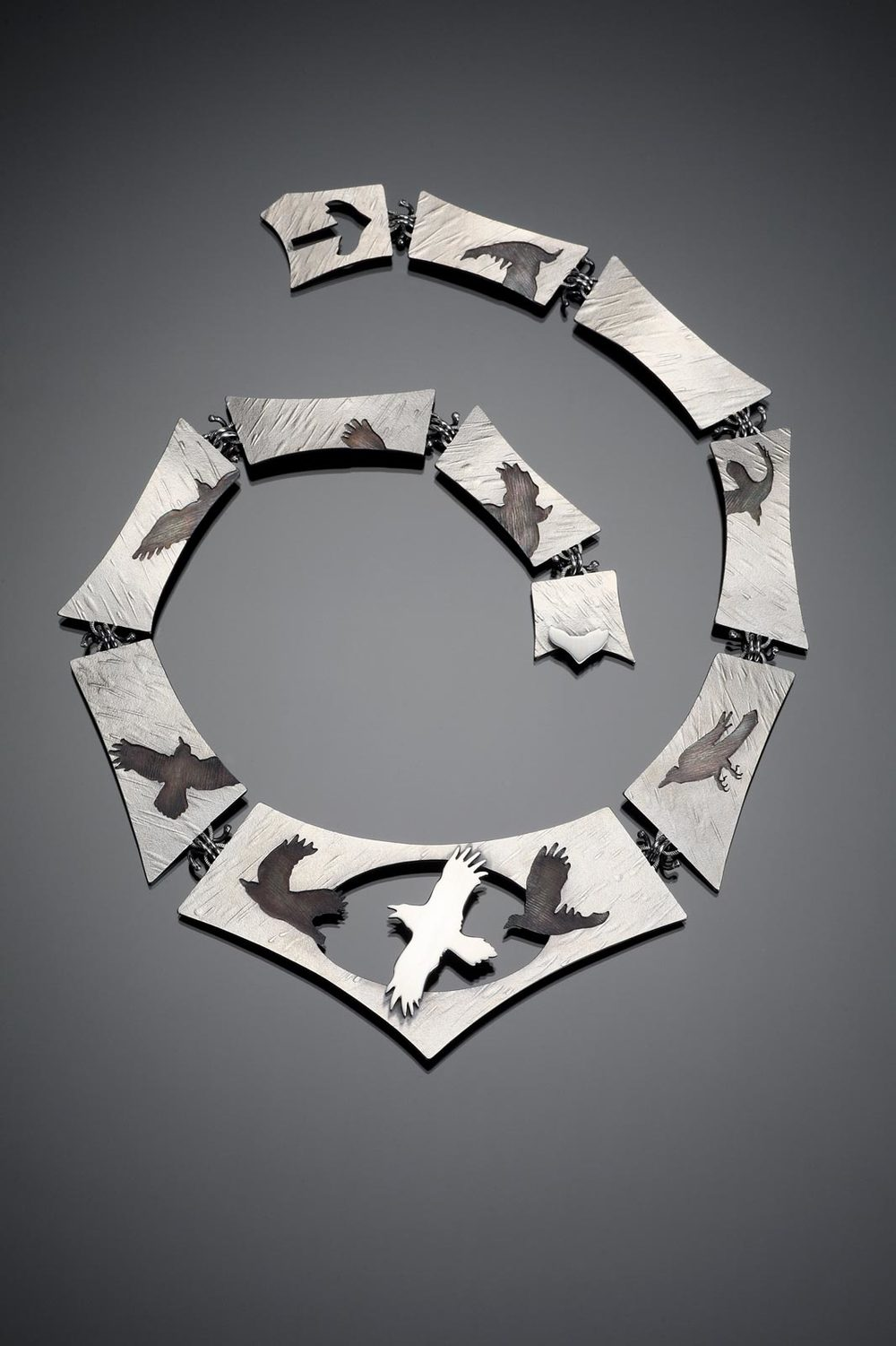 RAVEN IN FLIGHT: THE SEEN AND UNSEEN necklace of sterling silver, 19.69 x 16.51 x 0.64 x 45.72 centimeters, 2009.