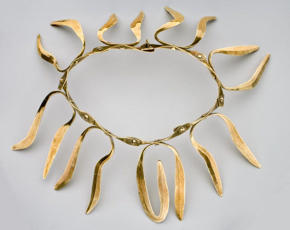 BRASS NECKLACE BY HARRY BERTOIA.